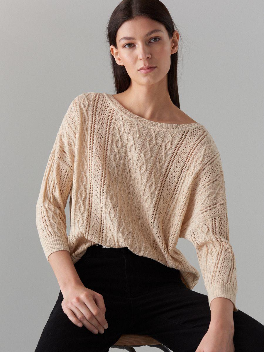 Rievota adījuma džemperis ar ažūru - bēšs - VZ814-08X - Mohito - 1