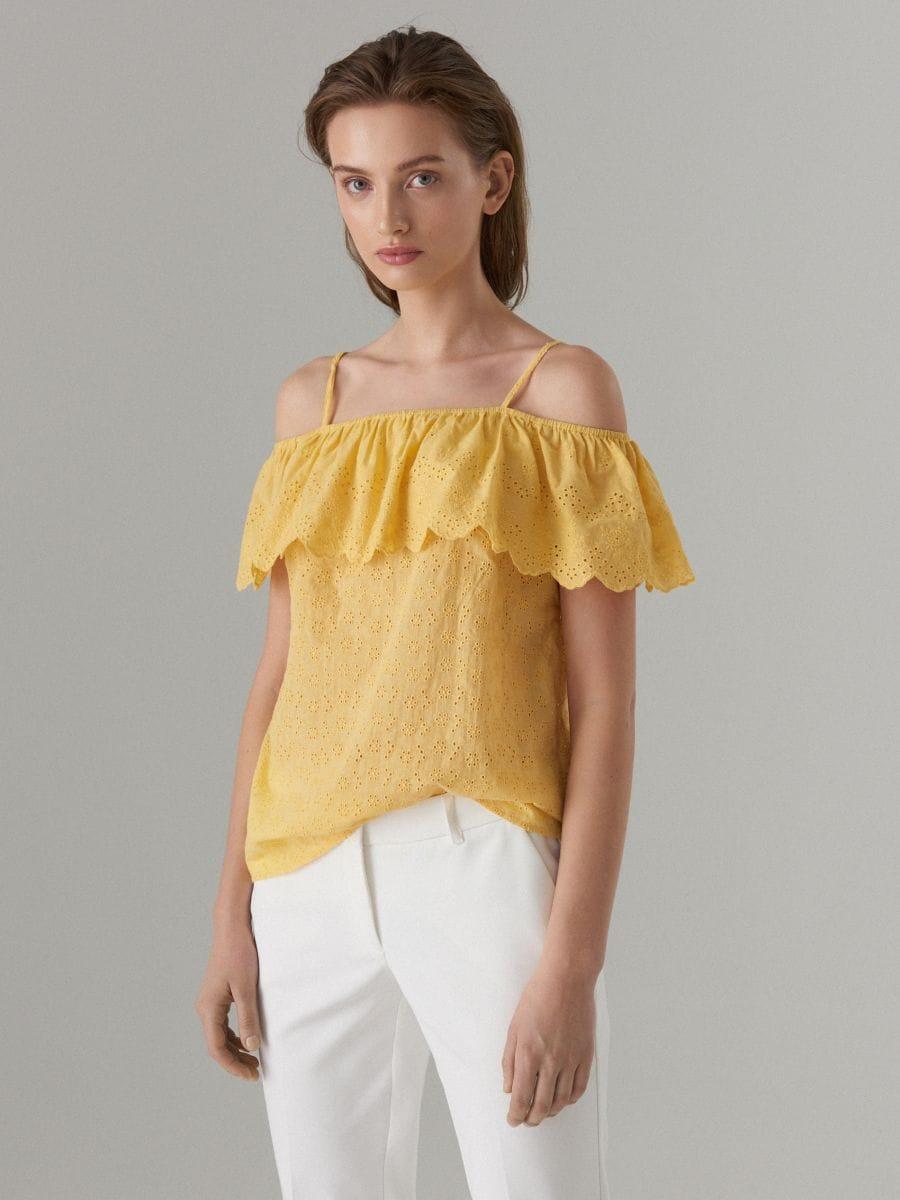 05d8136a4f6 Off shoulder cotton blouse , MOHITO, WA041-12X
