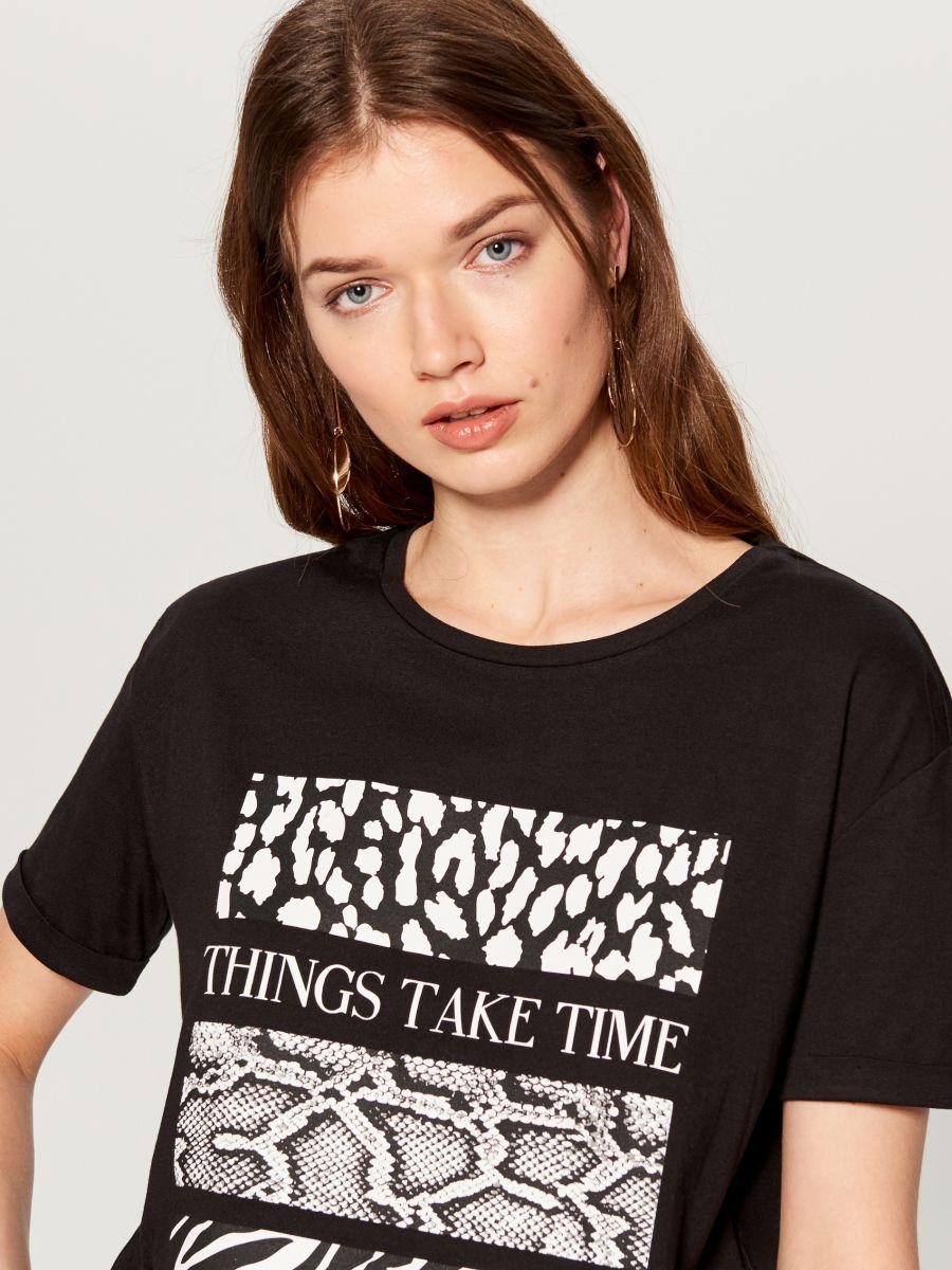 T-krekls ar apdruku - melns - WA959-99M - Mohito - 2