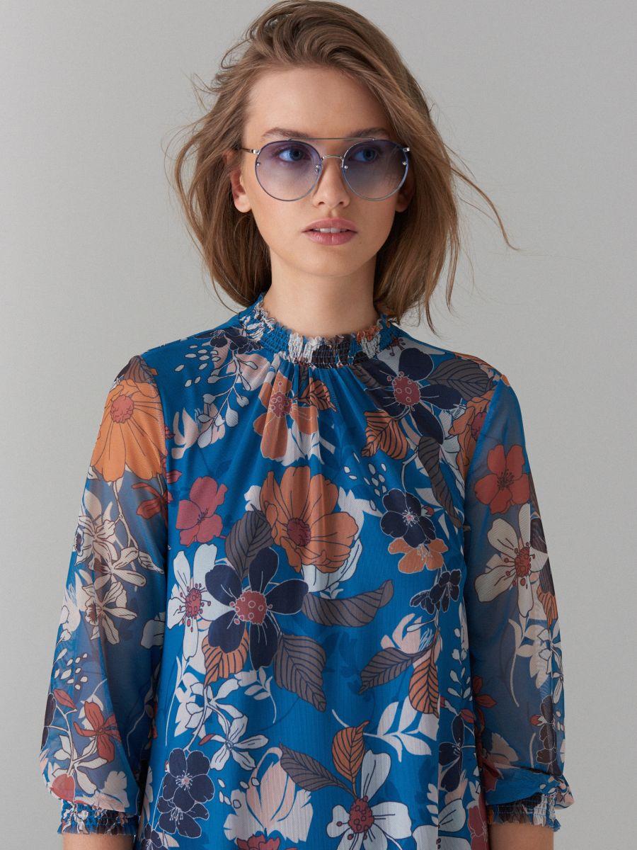 Kleita ar puķainu apdruku - zils - WF483-50P - Mohito - 2
