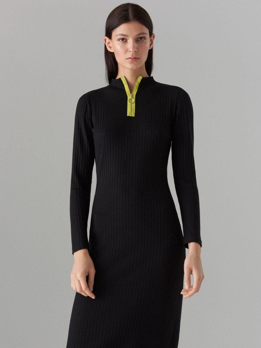Pieguloša rievota adījuma kleita - melns - WF504-99X - Mohito - 2