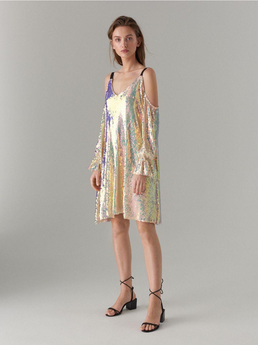20df7c8e Open shoulder sequin dress, MOHITO, WF516-MLC