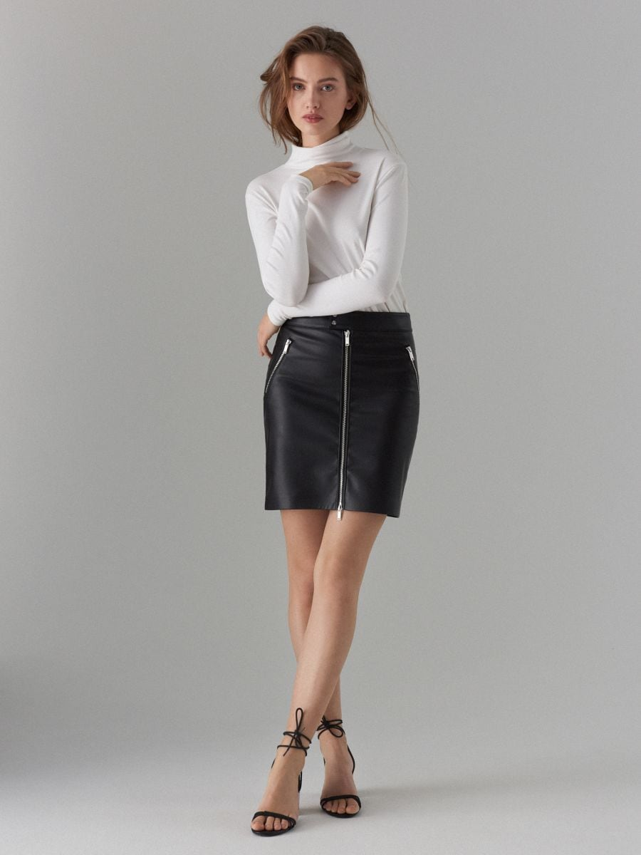 Faux leather pencil skirt - schwarz - WG861-99X - Mohito - 3