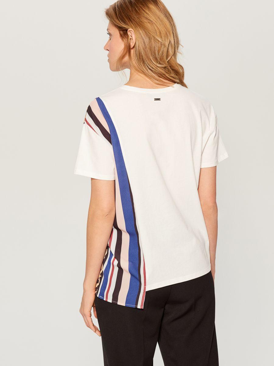 T-krekls ar leoparda apdrukas ielaidumu  - balts - WL110-00X - Mohito - 4