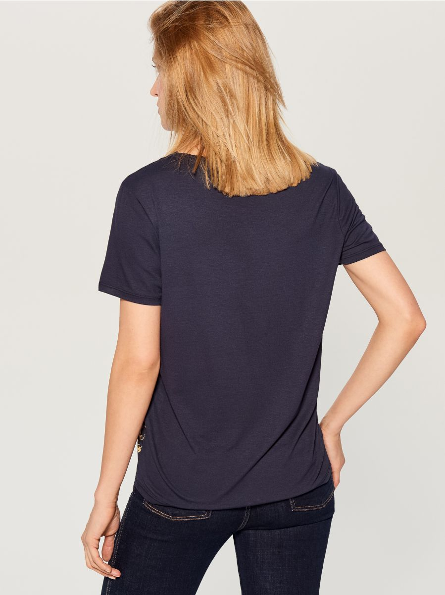 T-krekls ar ķēdes apdruku  - zils - WL113-95X - Mohito - 3