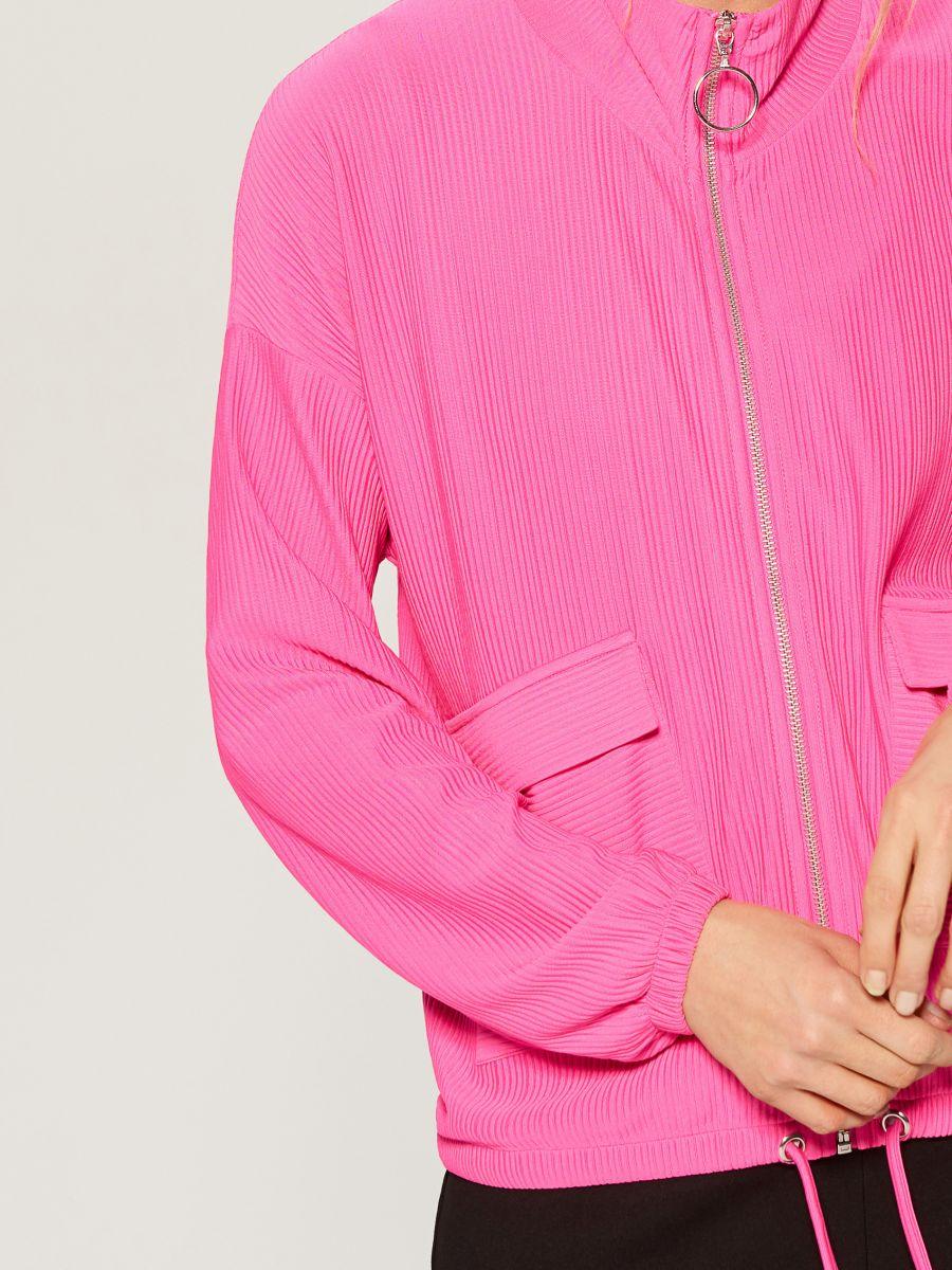 Blūze ar ielocēm un stāvapkaklīti - rozā - WL226-42X - Mohito - 7