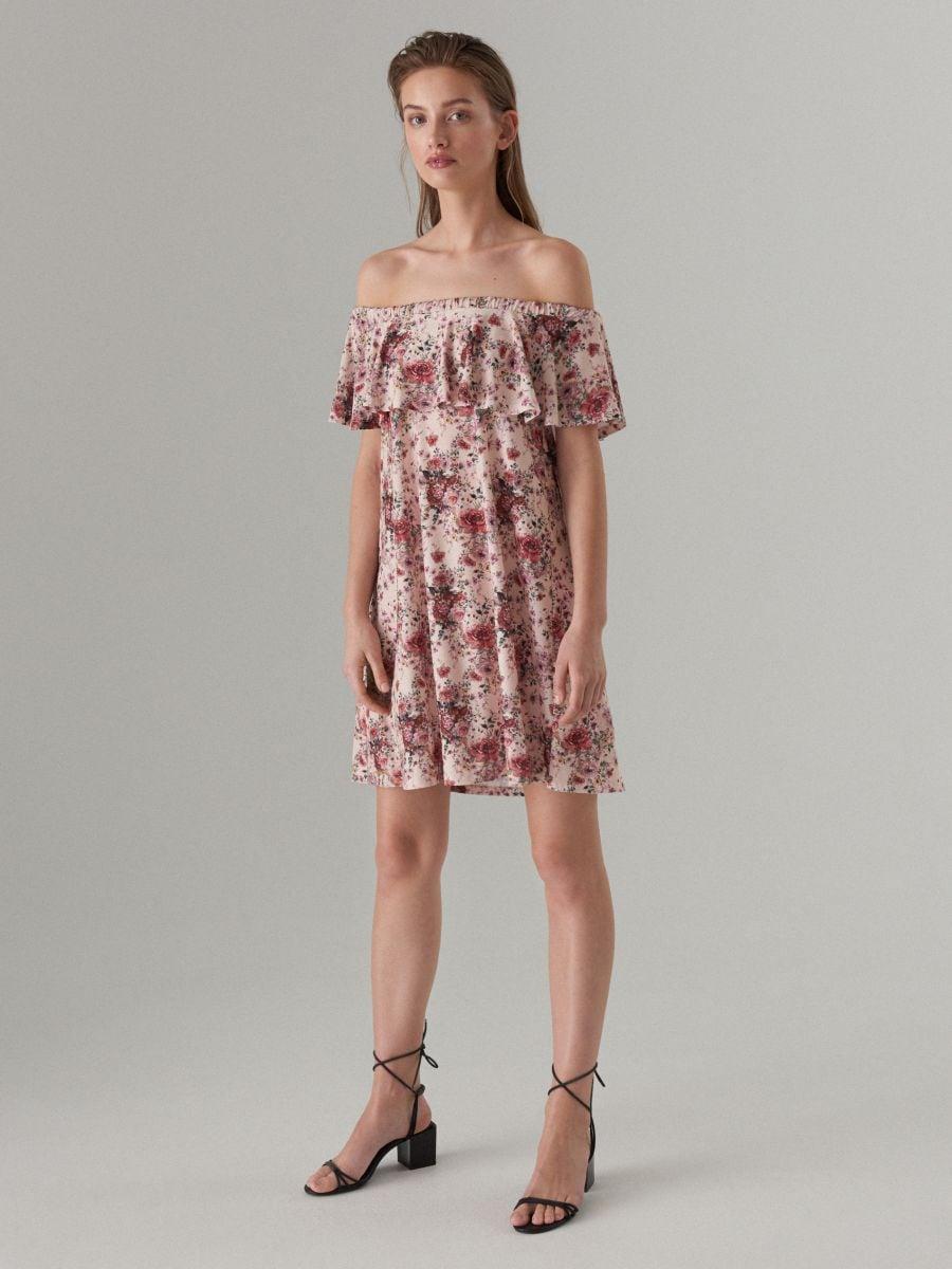Sukienka hiszpanka w kwiaty, MOHITO, WQ861 03P