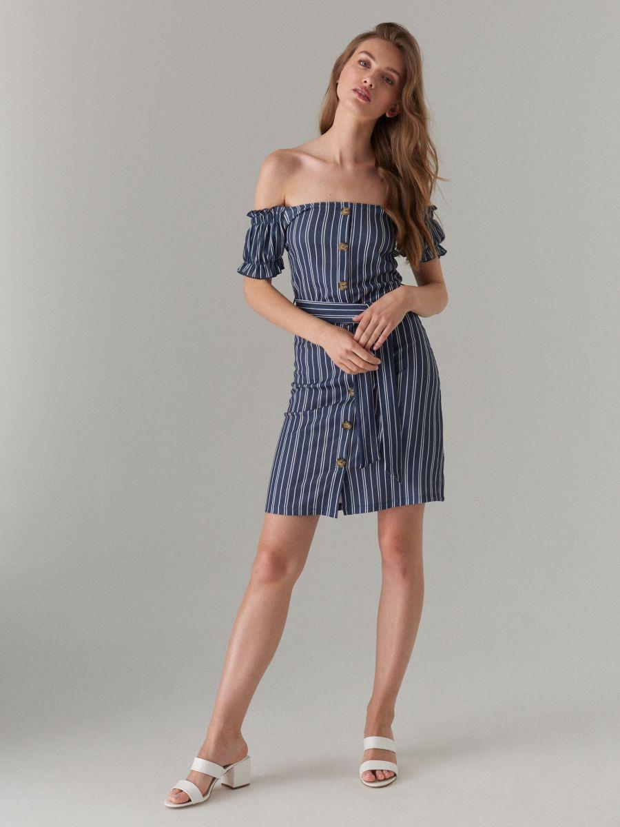 Sukienka hiszpanka z paskiem, MOHITO, XA751 95P