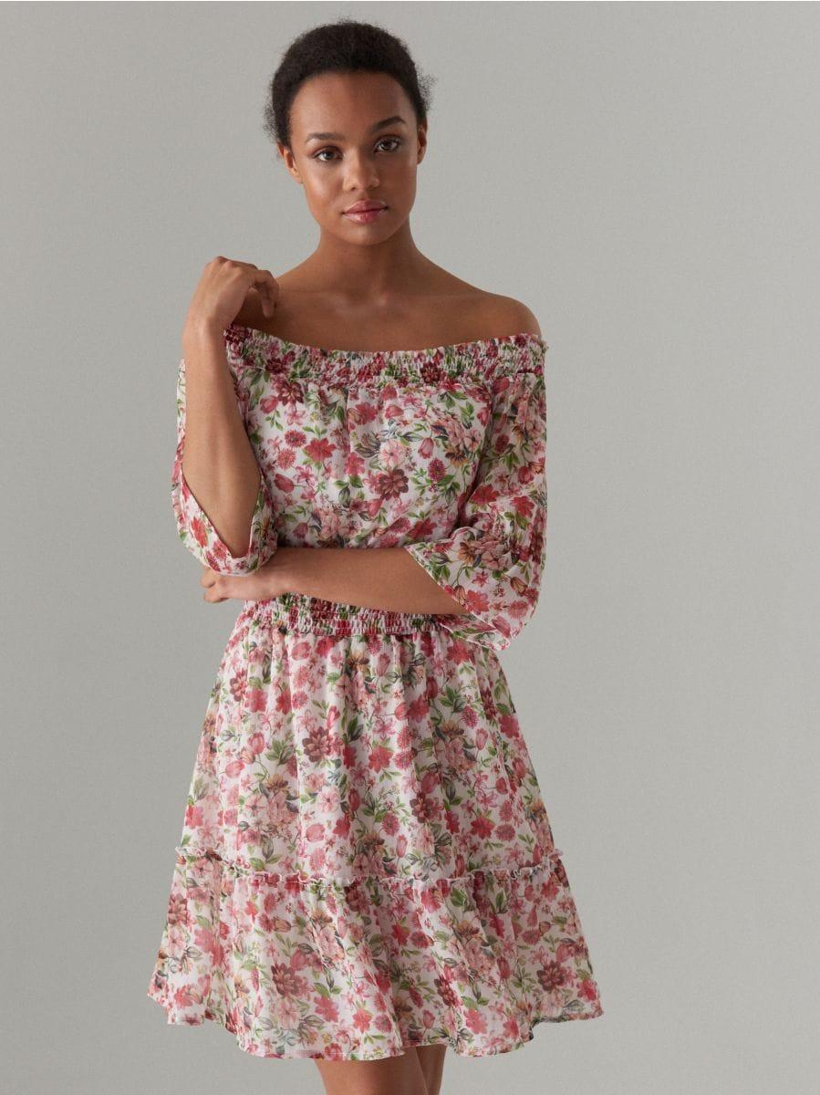 Szyfonowa sukienka hiszpanka, MOHITO, XH127 00P