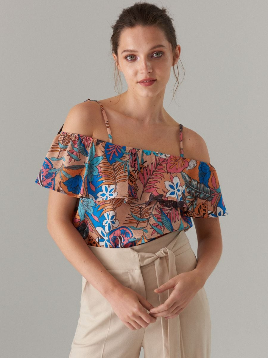 world-wide renown catch top-rated professional Patterned cold shoulder blouse, MOHITO, XJ209-10P