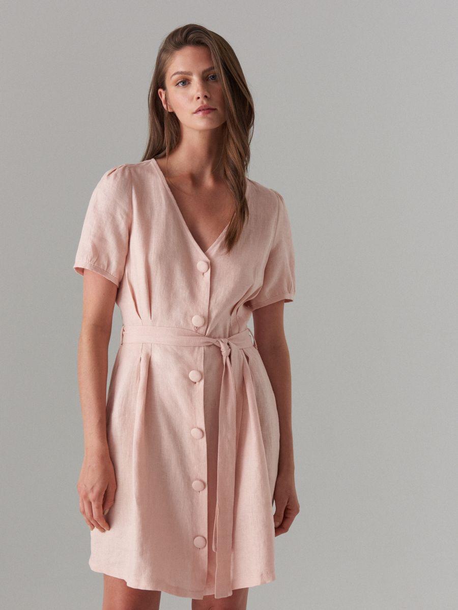 d537c57faf30ed Lniana sukienka na guziki - różowy - XJ251-39X - MOHITO - 1