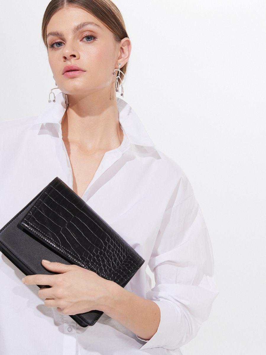 Torebka na ramię z łączonych materiałów