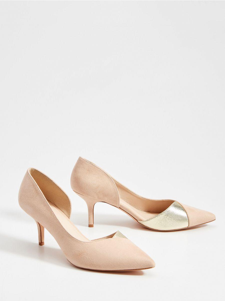 Műszarvasbőr magas sarkú cipő, MOHITO, ZG293 02X