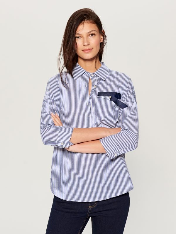 Svītrains krekls - zils - UF420-05X - Mohito - 2