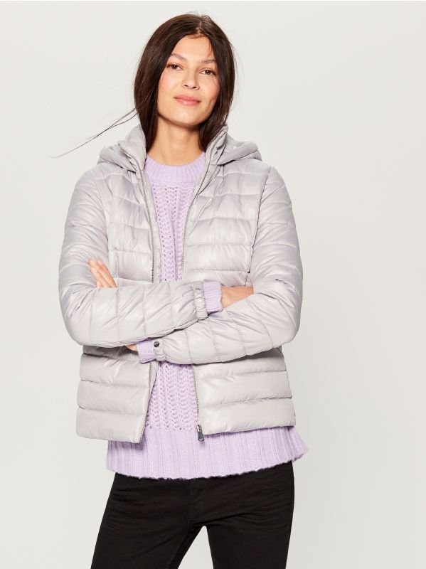 Stepēta jaka ar kapuci - gaiši pelēks - UN247-09X - Mohito - 1