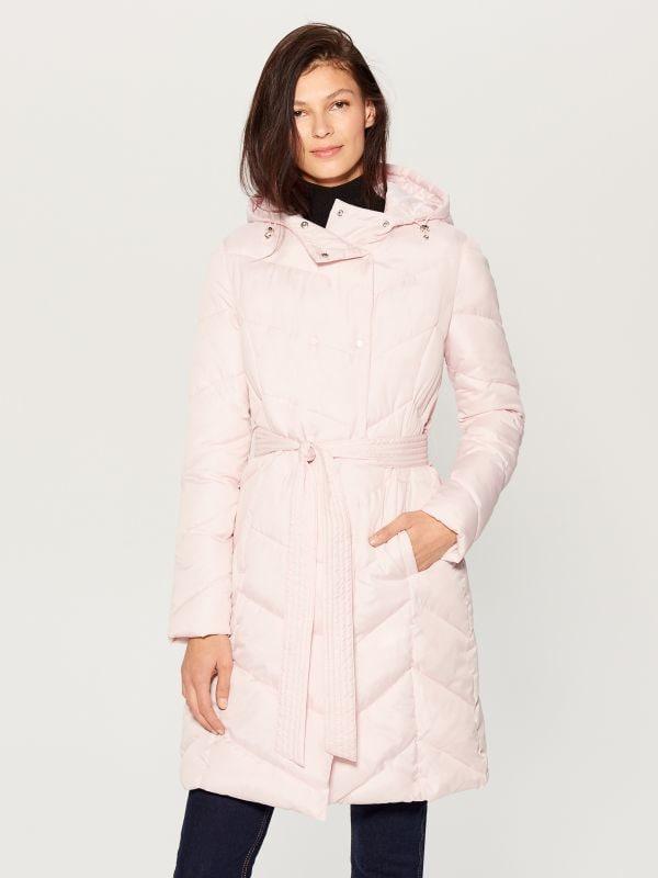 a53adfcf253b32 Pikowany płaszcz z kapturem · Pikowany płaszcz z kapturem - różowy -  UW005-03X - MOHITO