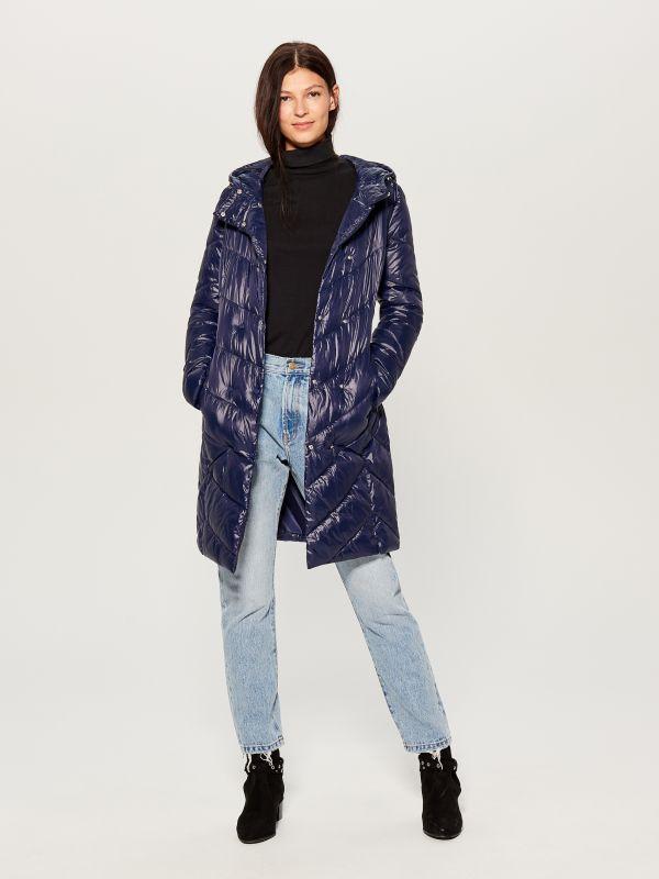 9567d2e4d02de2 4 Pikowany płaszcz z kapturem - niebieski - UW005-95X - MOHITO