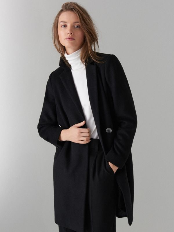 Coat with wool - schwarz - VA421-99X - Mohito - 2