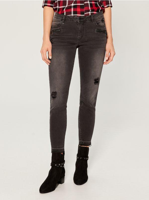 Džinsa bikses high waist skinny fit - pelēks - VA806-90J - Mohito - 2