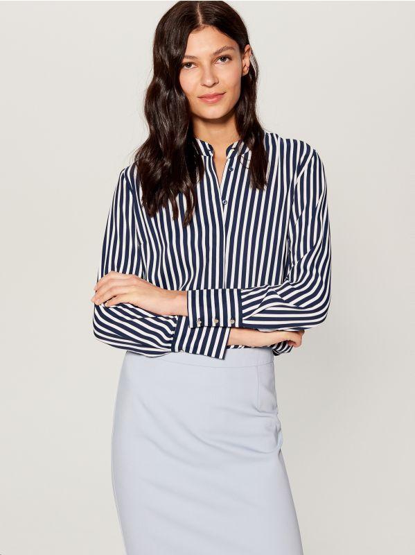 Krekls ar smalku rakstu - zils - VB653-95P - Mohito - 1