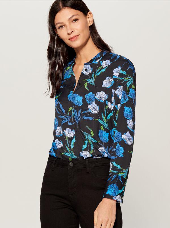 Krekls ar smalku rakstu - zils - VB653-99P - Mohito - 4