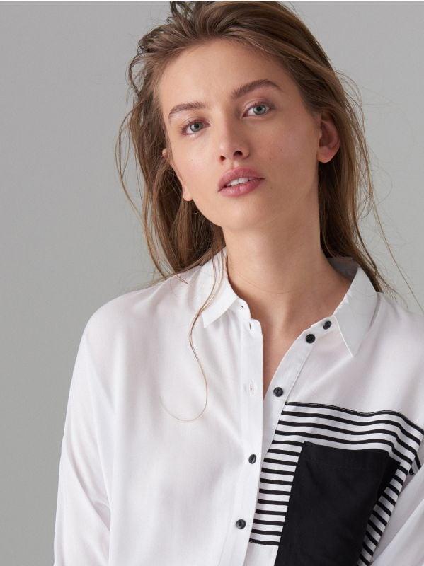 Koszula z ozdobną kieszonką - biały - VB667-00P - Mohito - 2