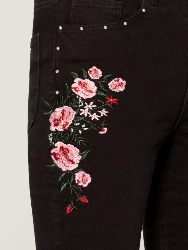 Džinsa bikses ar izšūtiem ziediem skinny fit - melns - VC493-99J - Mohito - 3