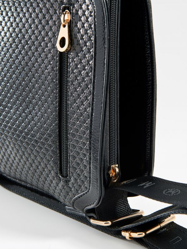 Plecu soma ar ģeometrisku tekstūru - melns - VE362-99X - Mohito - 4