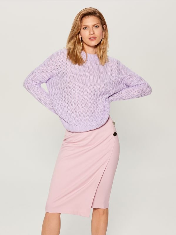 OVERSIZE džemperis ar augstu apkakli - violets - VL220-04X - Mohito - 2