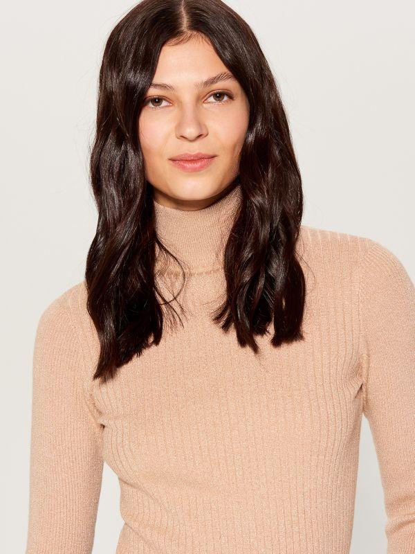 Piegulošs džemperis ar augstu apkakli - bēšs - VL225-80L - Mohito - 2