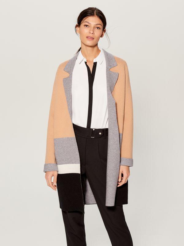 Gara jaka ar krāsainiem blokiem - bēšs - VL228-08X - Mohito - 1