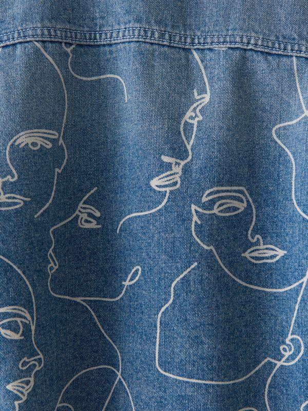 Džinsa jaka ar lineāru apdruku - zils - VM490-50J - Mohito - 4