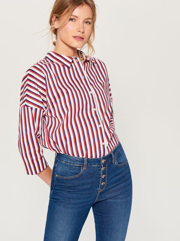 Oversize krekls ar V veida kakla izgriezumu - sarkans - VN055-33P - Mohito - 1