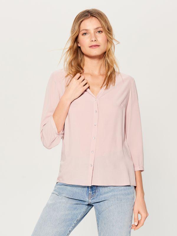 Krekls ar trīsceturtdaļu garuma piedurknēm  - rozā - VN056-39X - Mohito - 1