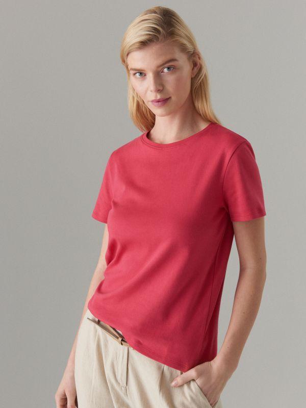 Kokvilnas T-krekls ar īsām piedurknēm  - rozā - VO216-03X - Mohito - 2