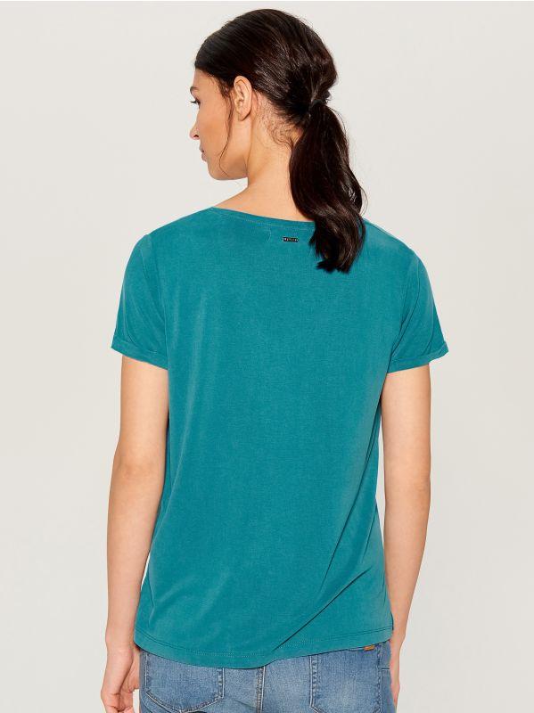 T-krekls Basic - tirkīza - VP614-66X - Mohito - 3