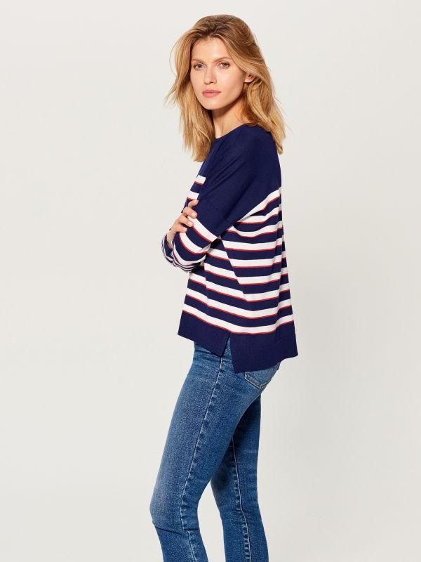 Svītrains džemperis - zils - VQ745-95P - Mohito - 1