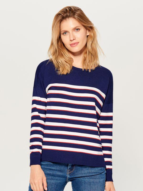 Svītrains džemperis - zils - VQ745-95P - Mohito - 2