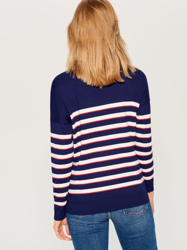 Svītrains džemperis - zils - VQ745-95P - Mohito - 5