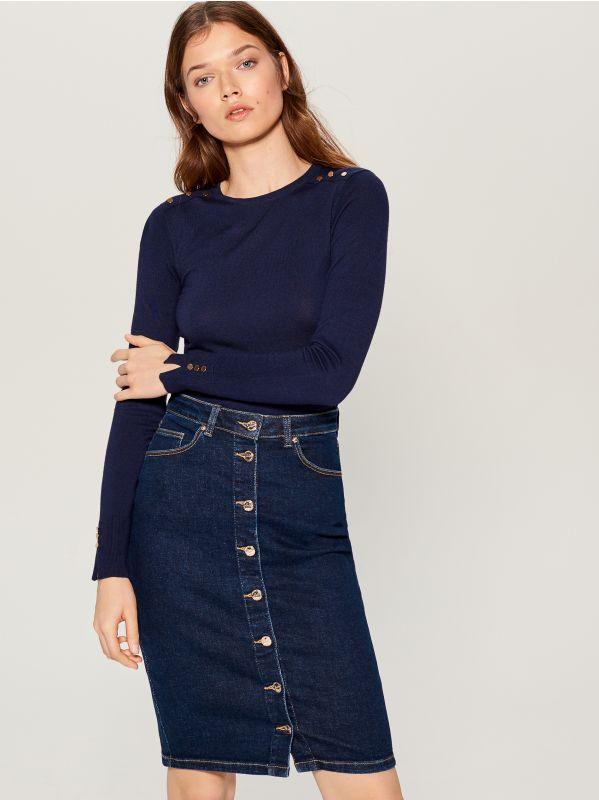 Pieguļošs džemperis - zils - VQ756-95X - Mohito - 2