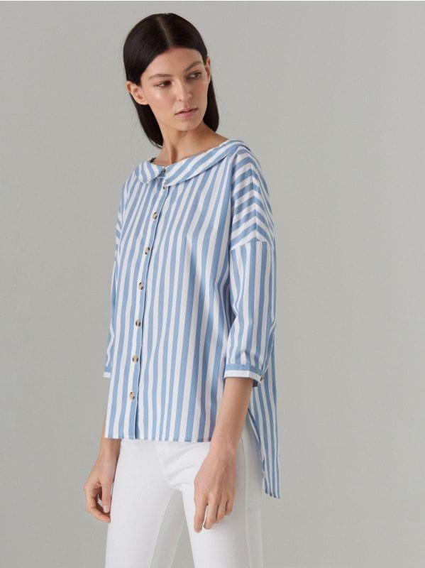Oversize krekls ar platu apkakli - zils - VQ796-05P - Mohito - 1