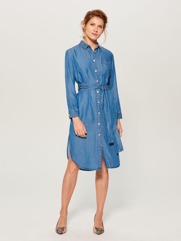 Kreklveida kleita no liocela - zils - VS054-55J - Mohito - 1