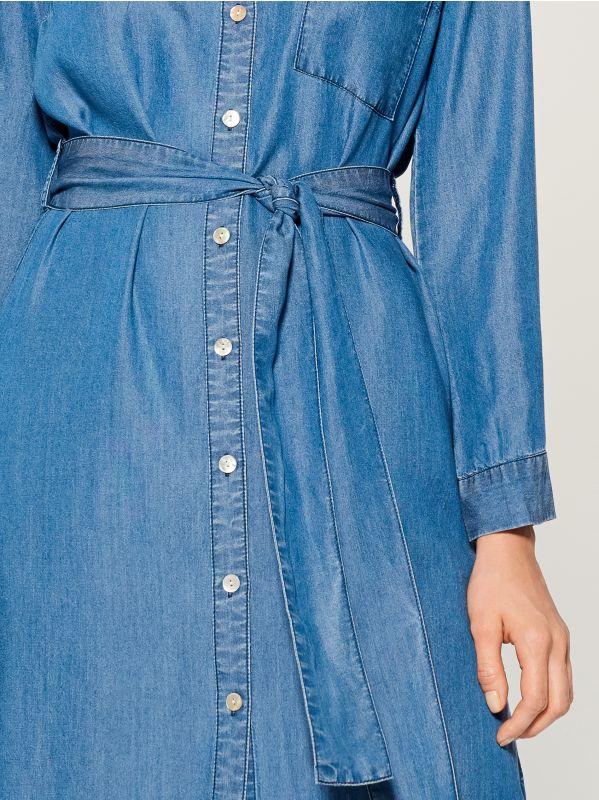 Kreklveida kleita no liocela - zils - VS054-55J - Mohito - 4