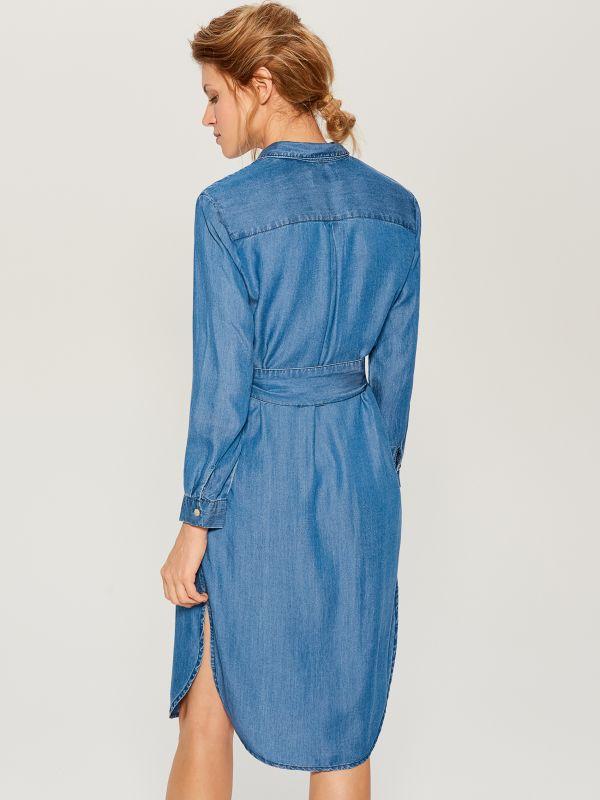 Kreklveida kleita no liocela - zils - VS054-55J - Mohito - 5