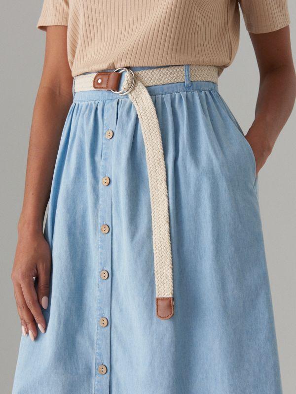 Džinsa svārki ar augstu jostasvietu - zils - VS055-05J - Mohito - 3