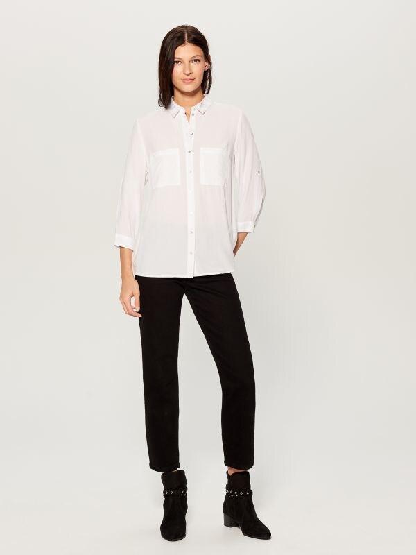 Krekls ar uzlocītām piedurknēm - balts - VS979-00X - Mohito - 2