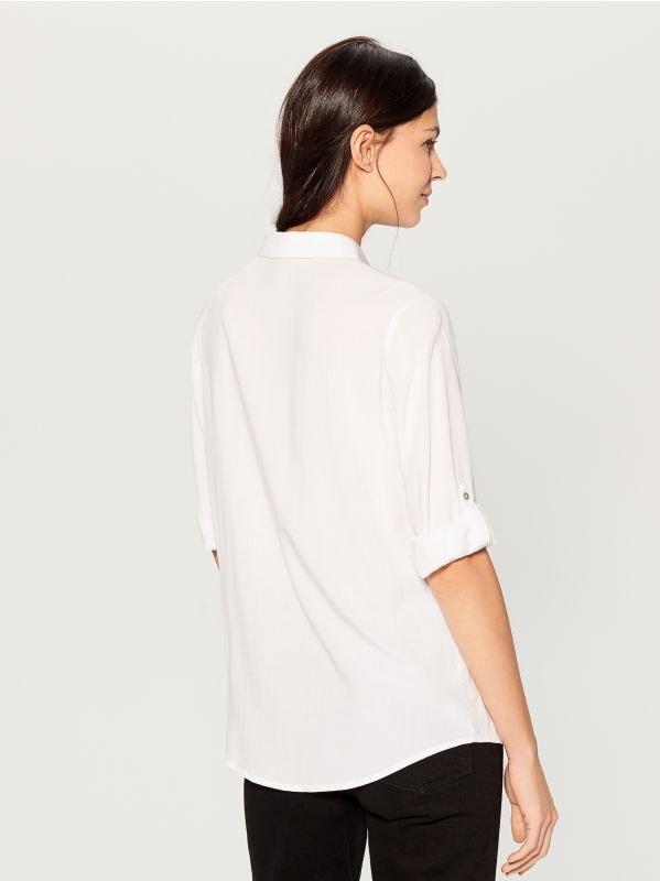 Krekls ar uzlocītām piedurknēm - balts - VS979-00X - Mohito - 4
