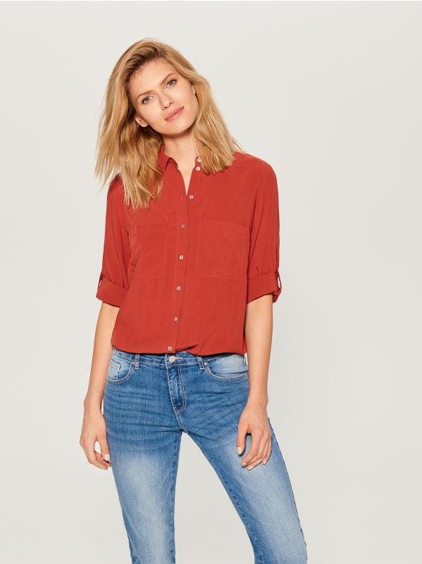 Krekls ar uzlocītām piedurknēm - sarkans - VS979-29X - Mohito - 1