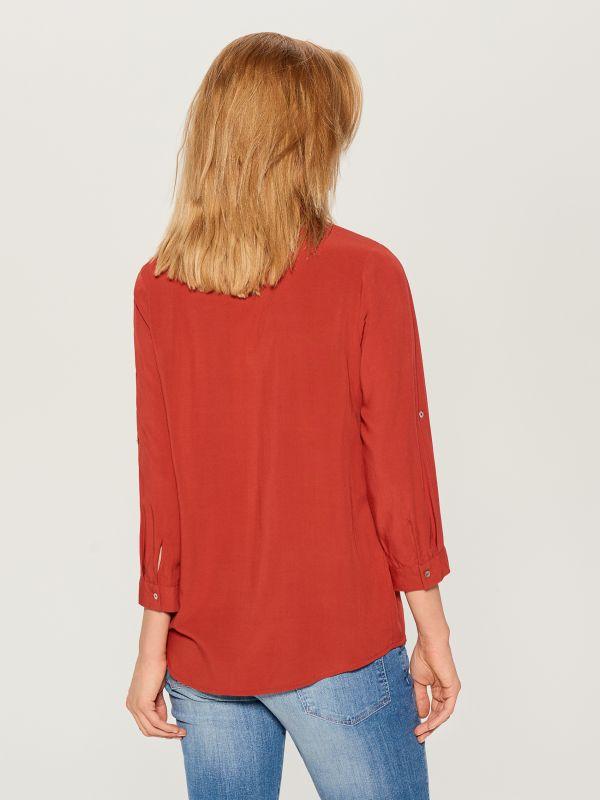 Krekls ar uzlocītām piedurknēm - sarkans - VS979-29X - Mohito - 4