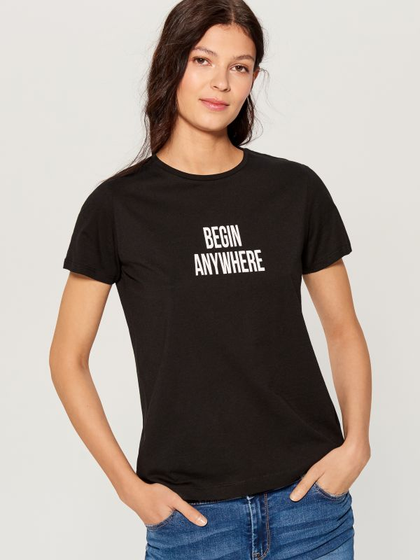 T-krekls ar apdruku - melns - VT024-99X - Mohito - 1